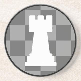 Grey chessboard Rook Drink Coaster
