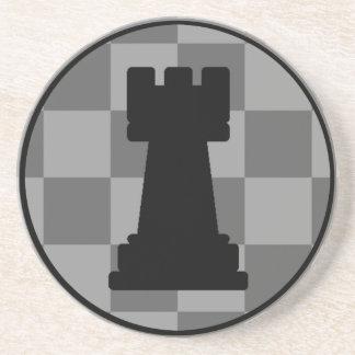 Grey chessboard Rook Drink Coasters