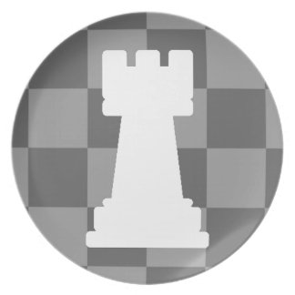 Grey chessboard Rook Melamine Plate