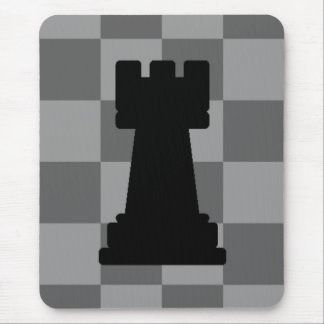 Grey chessboard Rook Mouse Pad