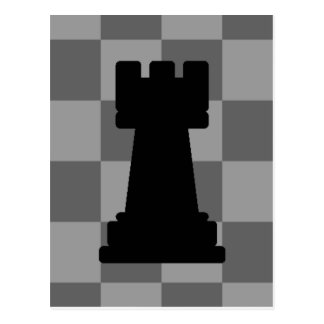 Grey chessboard Rook Postcard