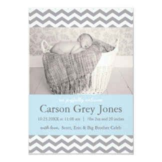 Grey Chevron | Baby Boy Birth Announcement