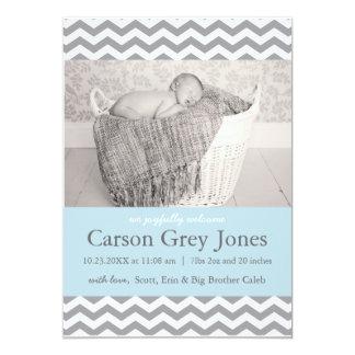 Grey Chevron | Baby Boy Birth Announcement