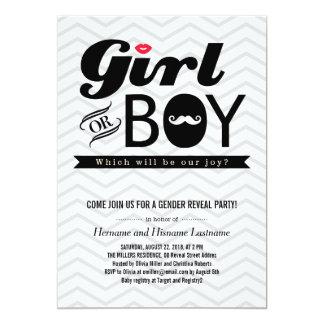 Grey Chevron Baby Gender Reveal Party Invite