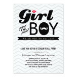 Grey Chevron Baby Gender Reveal Party Invite Announcements