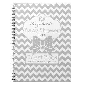 Grey Chevron Baby Shower Guest Book Spiral Notebook