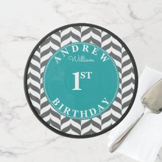 Grey Chevron Cake Smash First Birthday Elegant Cake Stand