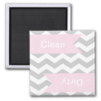 Grey Chevron Clean - Dirty Dishwasher Magnets