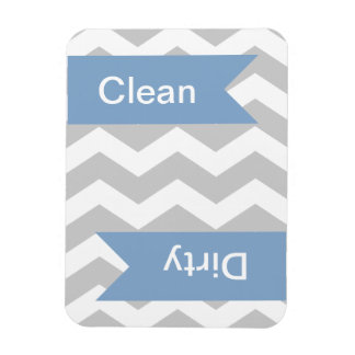 Grey Chevron Clean - Dirty Dishwasher Magnets