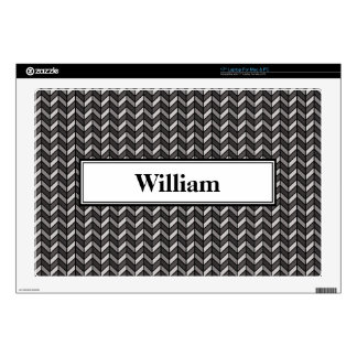 "Grey Chevron Decal For 17"" Laptop"
