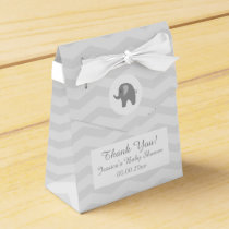 Grey chevron elephant baby shower party favor box