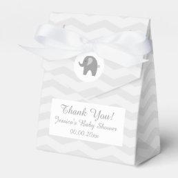 Grey chevron elephant baby shower party favor box