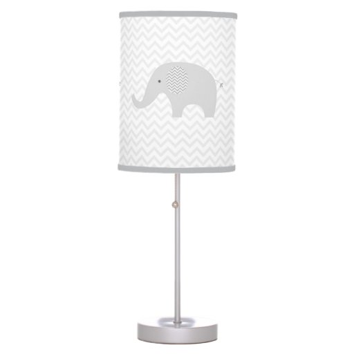 Grey Chevron Elephant Nursery Desk Lamp