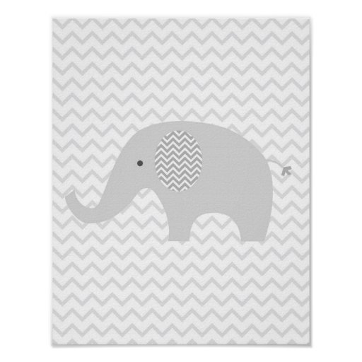 Grey Chevron Elephant Nursery Wall Art Print