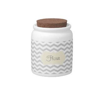 Grey Chevron Flour Jar Candy Jar