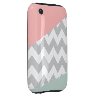 Grey Chevron - Mint and Coral Tough iPhone 3 Covers