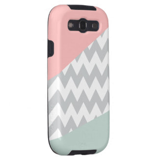 Grey Chevron - Mint and Coral Samsung Galaxy SIII Cover