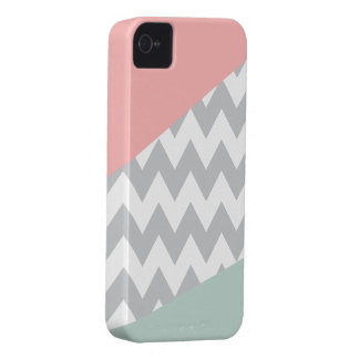 Grey Chevron - Mint and Coral iPhone 4 Case-Mate Cases