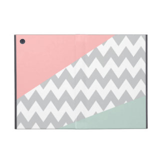 Grey Chevron - Mint and Coral Cases For iPad Mini