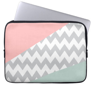 Grey Chevron  Mint and Coral Laptop Sleeve
