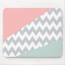 Grey Chevron  Mint and Coral Mouse Pad