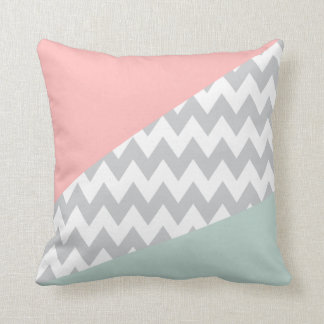 Grey Chevron - mint and coral Throw Pillow