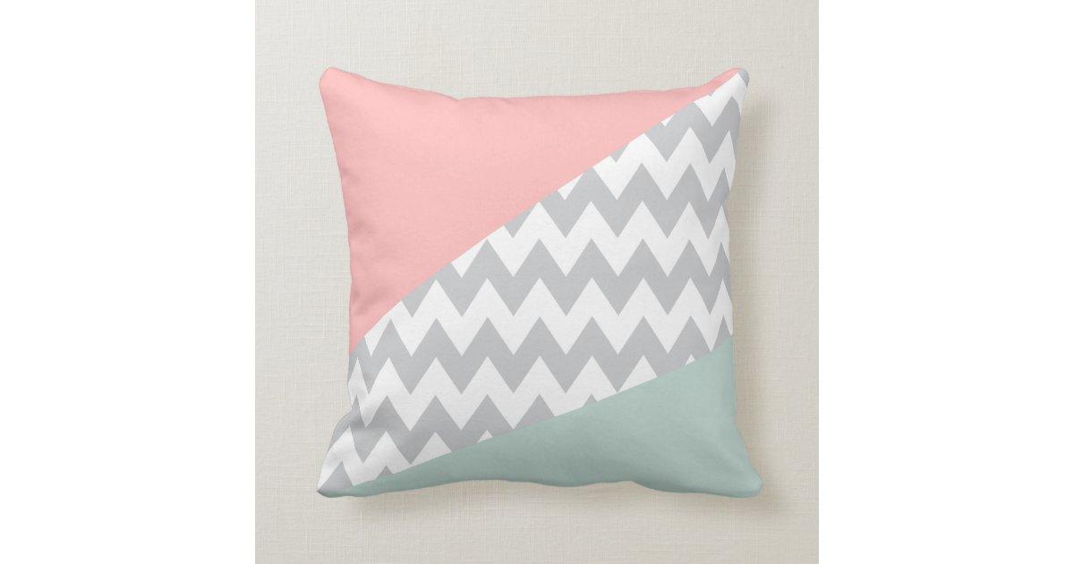 Grey Chevron Throw Pillow : Grey Chevron - mint and coral Throw Pillow Zazzle