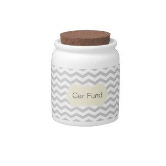 Grey Chevron Money Saving Fund Jar Candy Dish