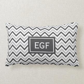 Grey Chevron Monogram Throw Pillow