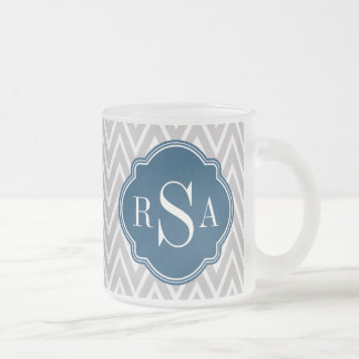 Grey Chevron Navy Monogram Initial Letter Frosted Glass Coffee Mug