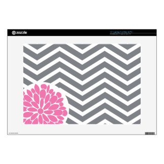 Grey Chevron Pattern Laptop Decal with Pink Mum