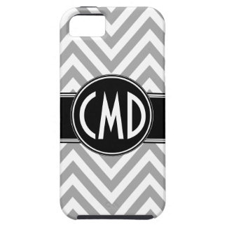 GREY CHEVRON PATTERN YOUR MONOGRAM INITIALS iPhone 5 CASE