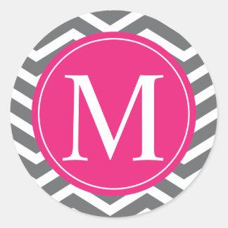 Grey Chevron Pink Monogram Classic Round Sticker