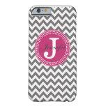 Grey Chevron & Pink Monogram iPhone 6 case