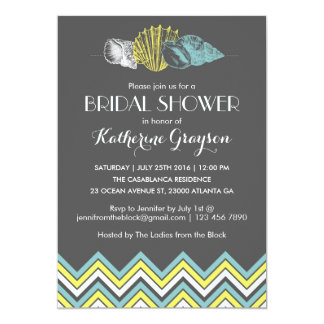 Grey Chevron Seashells Bridal Shower Invitation