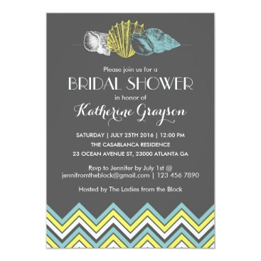 Beach Themed Grey Chevron Seashells Bridal Shower Invitation