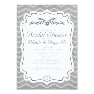 Grey Chevron Stripes Bridal Shower Invitations Custom Invite
