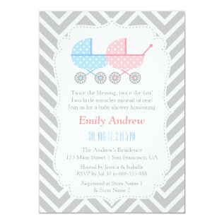 Grey Chevron Strollers Twins Baby Shower Card at Zazzle