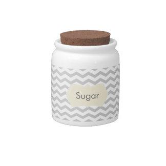 Grey Chevron Sugar Jar Candy Jars