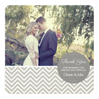 Grey Chevron Wedding Thank You Card