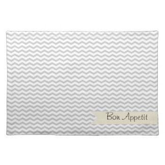 Grey Chevron with beige personalized label Cloth Placemat