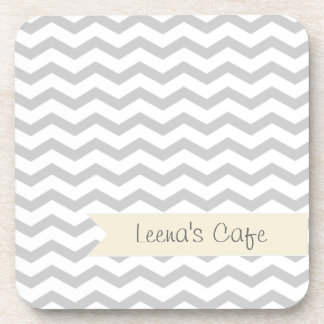 Grey Chevron with beige personalized label Drink Coaster