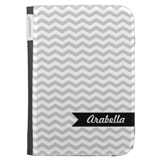 Grey Chevron with Black personalized label Kindle 3G Case