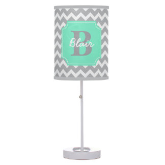 Grey Chevron with Mint Frame Name and Initial Table Lamp