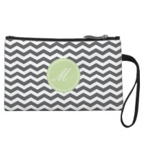 Grey Chevron with Monogram Clutch