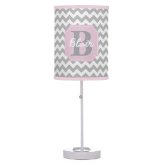 Grey Chevron with Pink Frame Name and Initial Desk Lamp