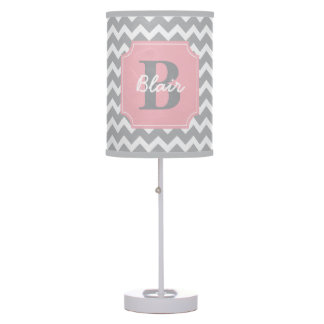 Grey Chevron with Pink Frame Name and Initial Table Lamp