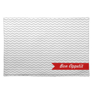 Grey Chevron with red personalized label Cloth Placemat