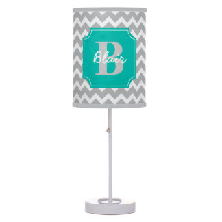 Grey Chevron with Teal Frame Name and Initial Table Lamp