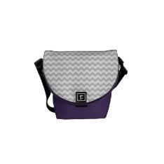Grey Chevrons On White Amethyst Mini Messenger Bag at Zazzle